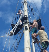 Climbing the rigging like real pirates
